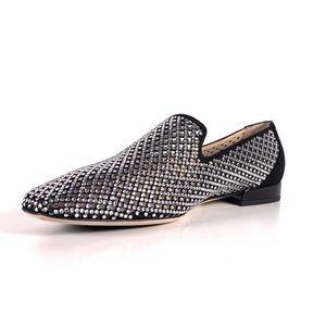 Jimmy Choo Jaida Black Loafers Crystal Rhinestones